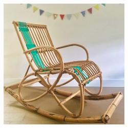 Rocking chair Macramé vert