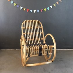 Rocking chair macramé gris